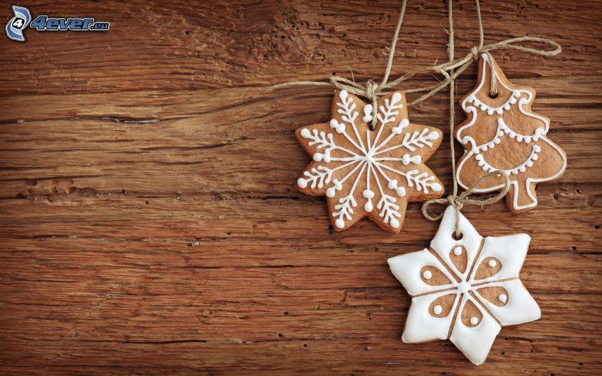pan de jengibre, estrellas, árbol de Navidad