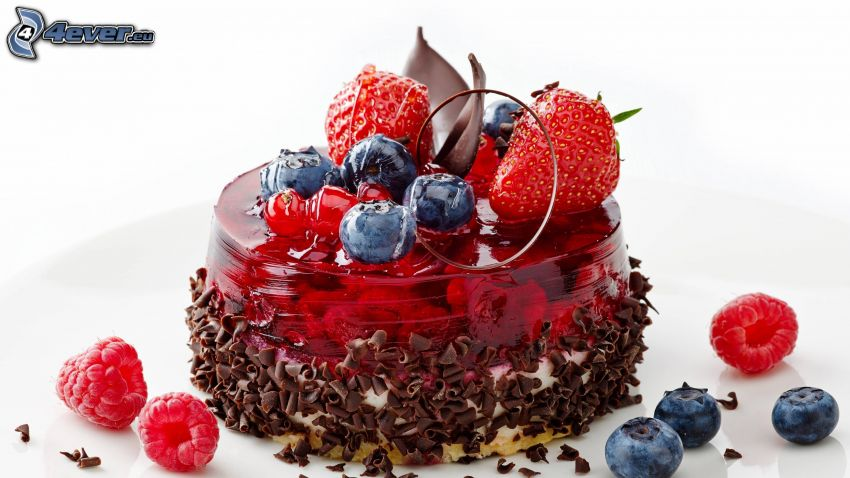 pastel, gelatina, fruto forestal, fresas, arándanos, frambuesas