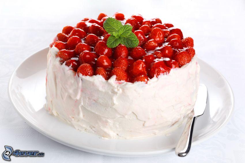 pastel con fresas