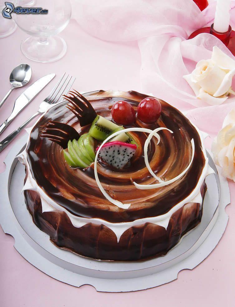 pastel de chocolate, fruta
