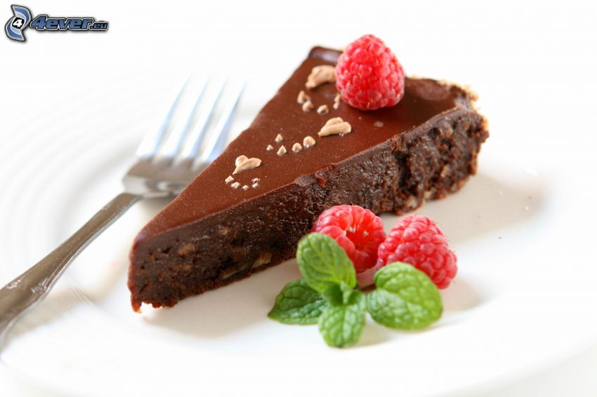 pastel de chocolate, pedazo de tarta, frambuesas, menta, tenedor