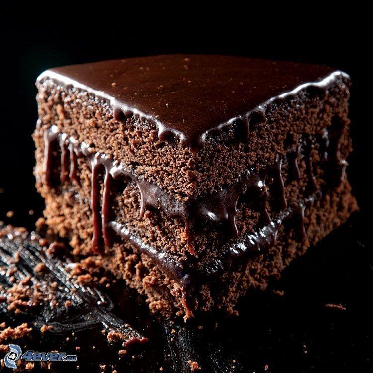 pastel de chocolate, pedazo de tarta
