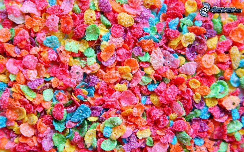 pétalos, corn flakes, colores