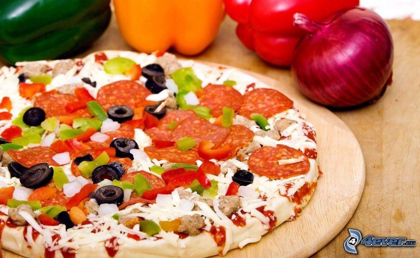 pizza, cebolla, pimientos