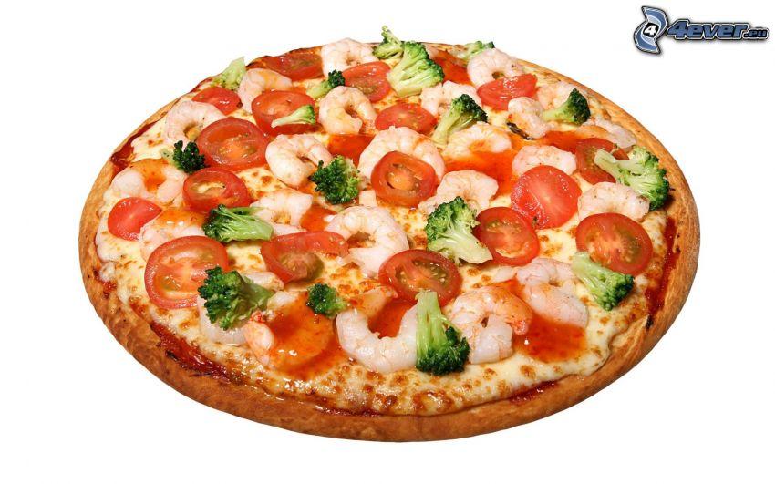 pizza, gambas rebozadas