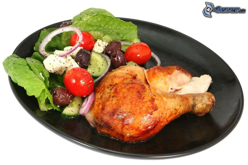 pollo asado, ensalada