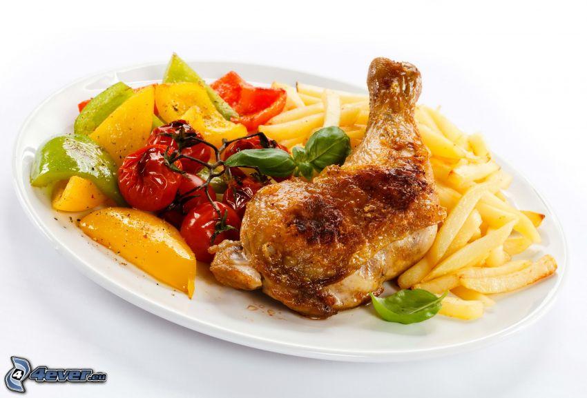 pollo asado, frisón, ensalada