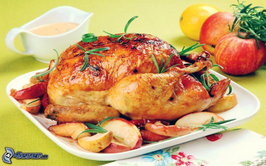 pollo asado, manzana, romero, salsa