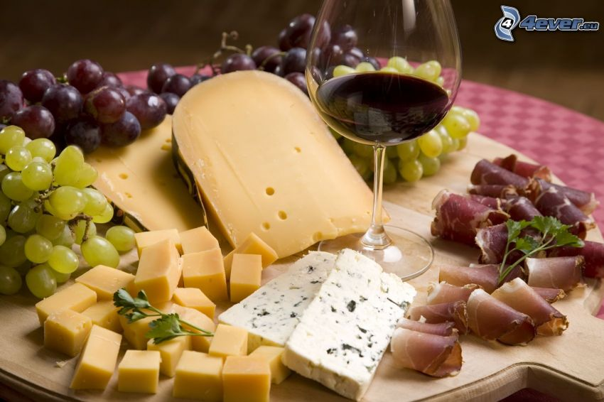 queso, vino, uvas, tocino