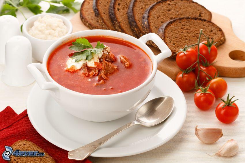 sopa, tomates cherry, pan