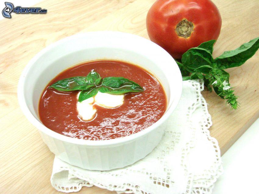sopa de tomate, albahaca, tomate