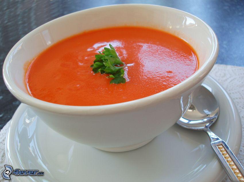 sopa de tomate, tazón, cuchara