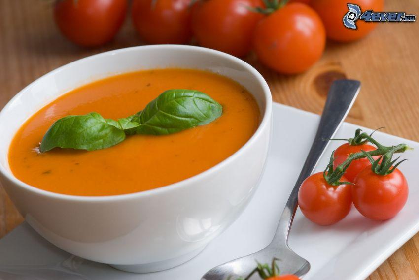 sopa de tomate, tazón, tomates, albahaca