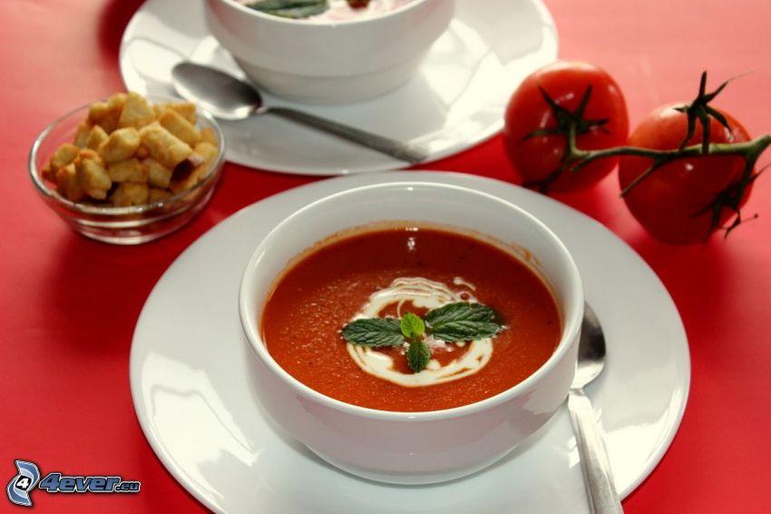 sopa de tomate, tazón, tomates
