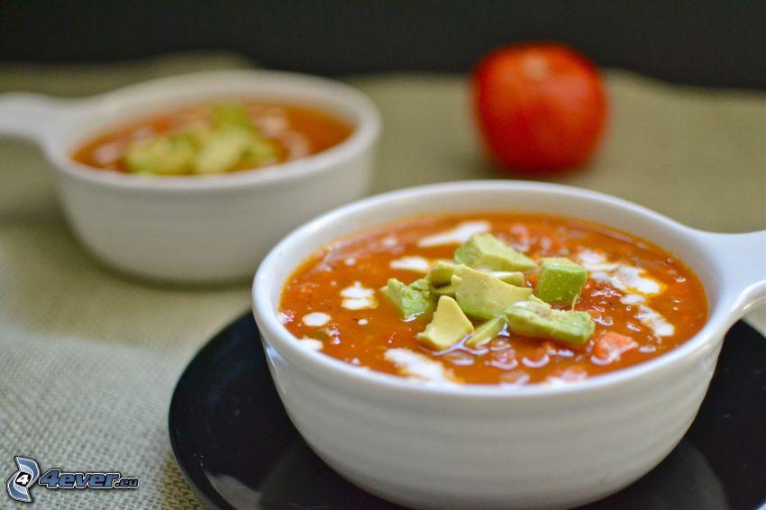 sopa de tomate, tazón