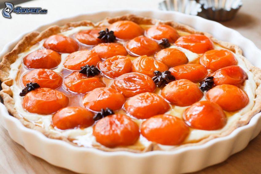 tarta de fruta, albaricoques
