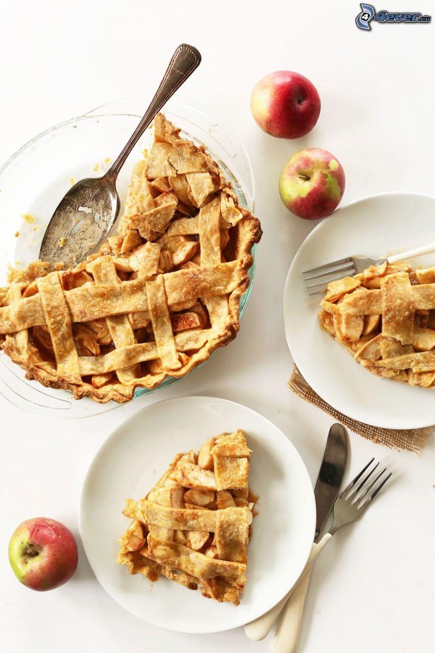 tarta de manzana, cubiertos, manzanas