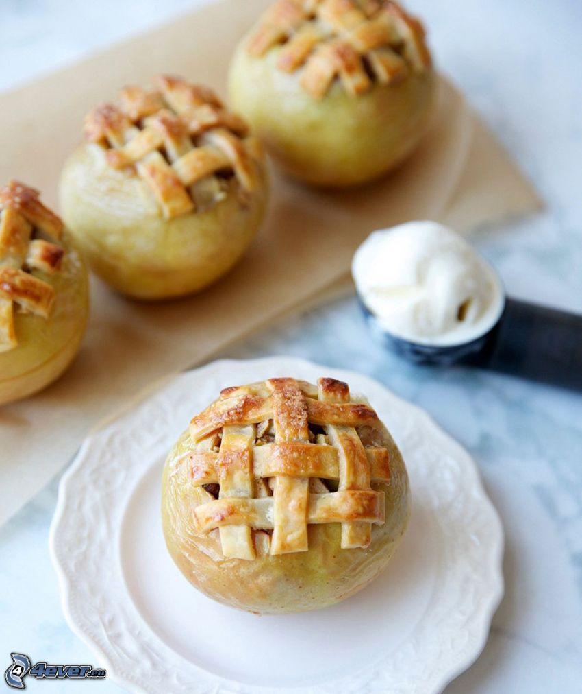 tarta de manzana, helado