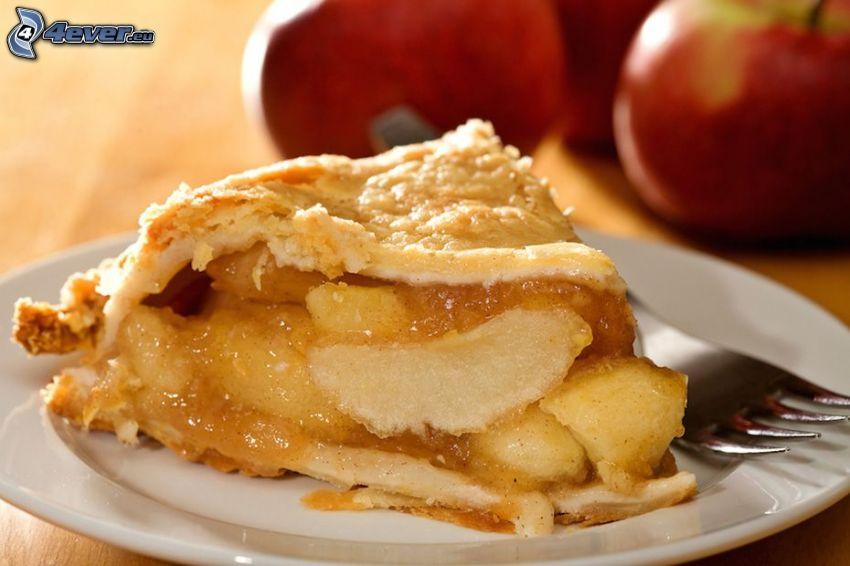 tarta de manzana, manzanas rojas, tenedor