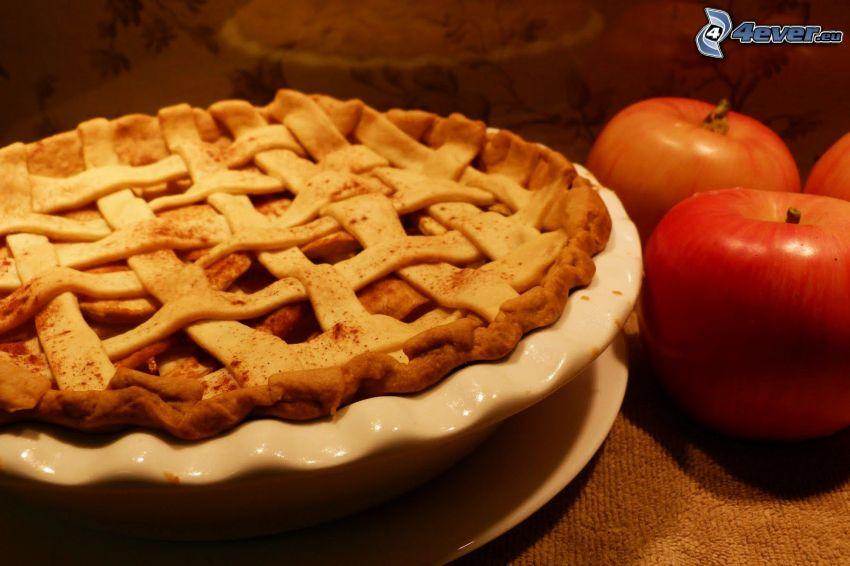 tarta de manzana, manzanas rojas