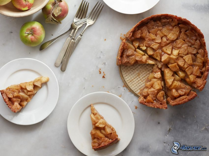 tarta de manzana, tenedor, manzanas