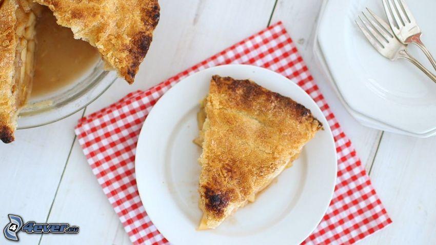 tarta de manzana, tenedor