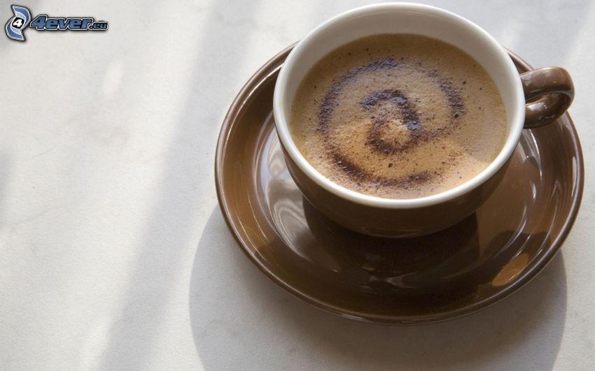 taza de café, arroba, latte art