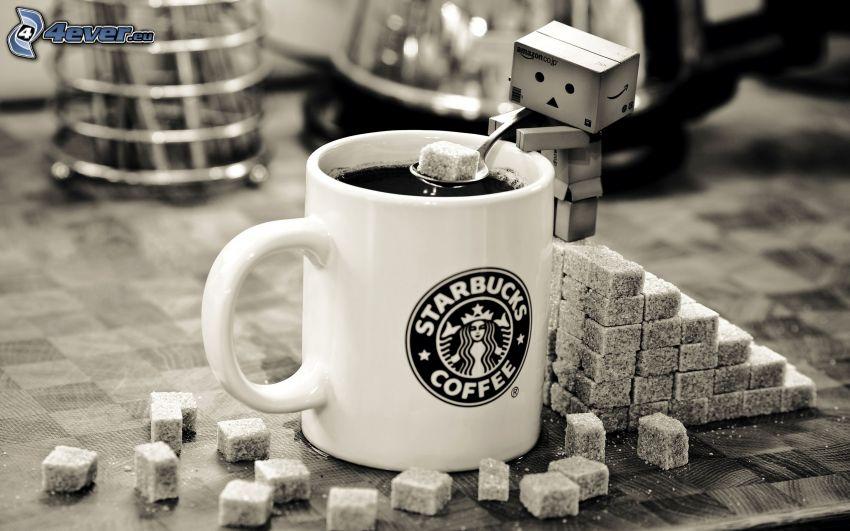 taza de café, azúcar, robot
