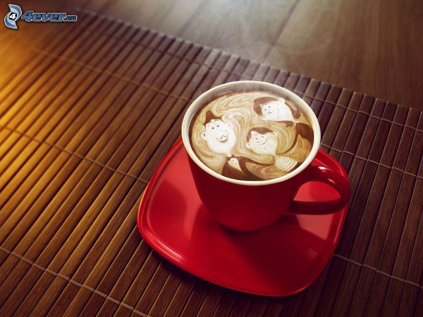 taza de café, caracteres, latte art