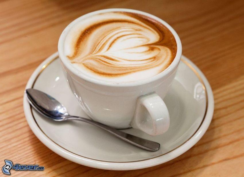 taza de café, espuma, latte art