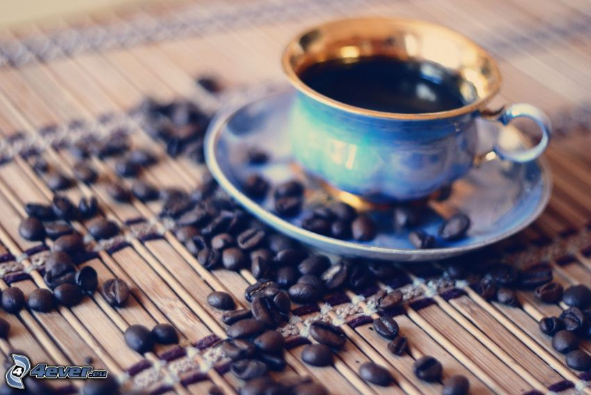 taza de café, granos de café