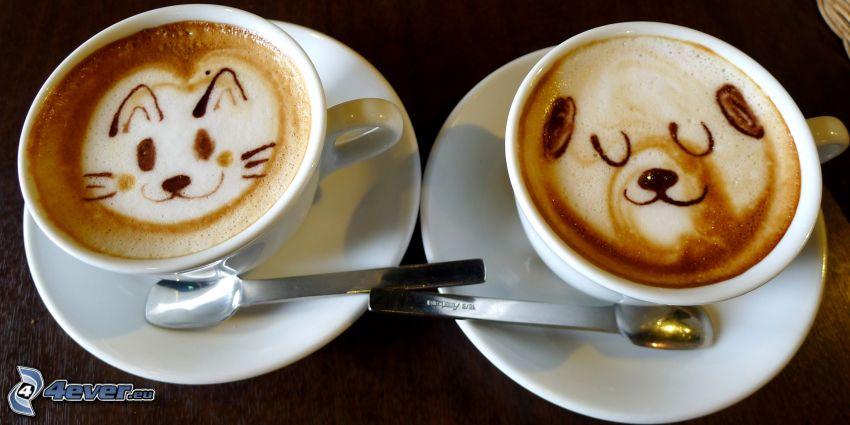 taza de café, latte art, gato, oso
