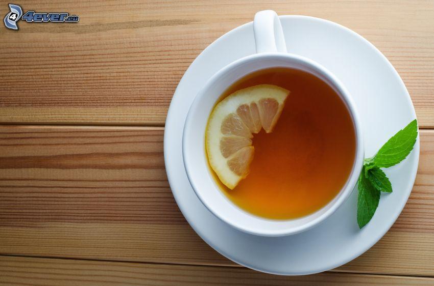 taza de té, limón