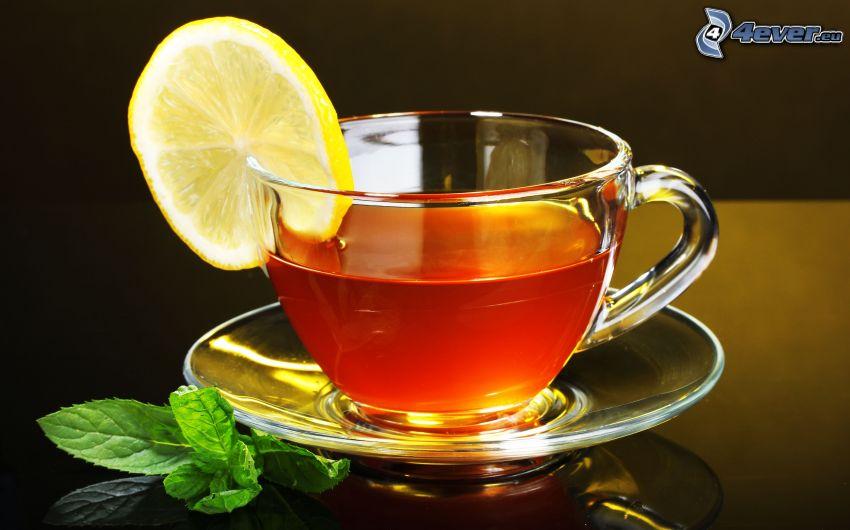 taza de té, rodaja de limón