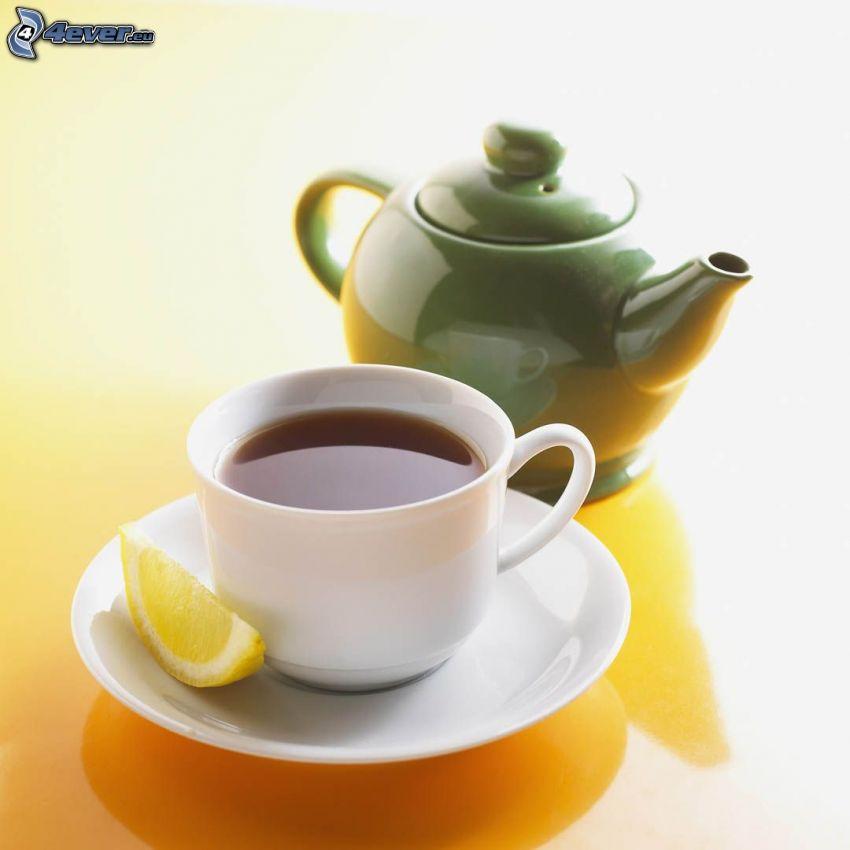 taza de té, tetera, limón