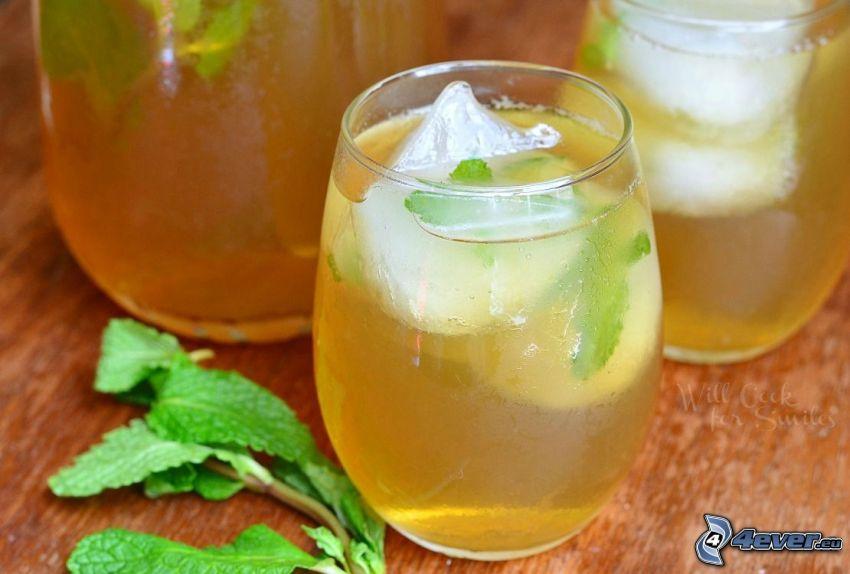 té de menta, hielo