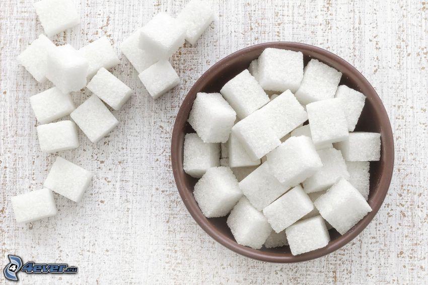 terrones de azúcar, tazón