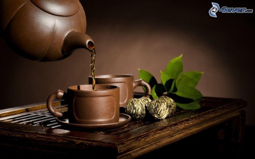 tetera, taza de té, té de la floración