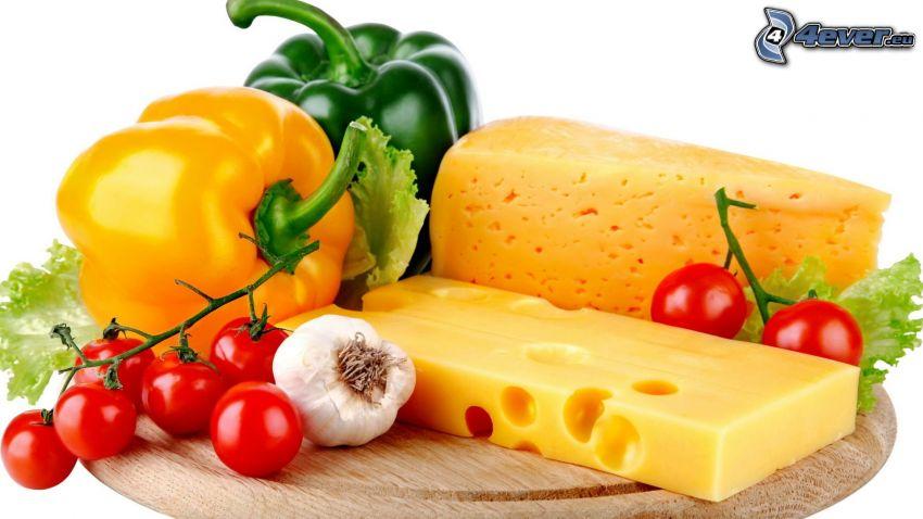 tomates cherry, queso, pimientos, ajo