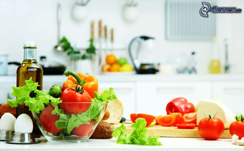 verduras, huevos, aceite, tazón