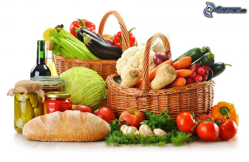 verduras, pan, cestas