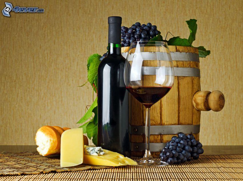 vino, barril, uvas, queso