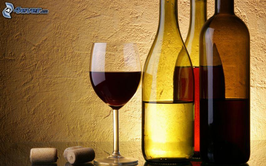vino, botellas, copa, corcho