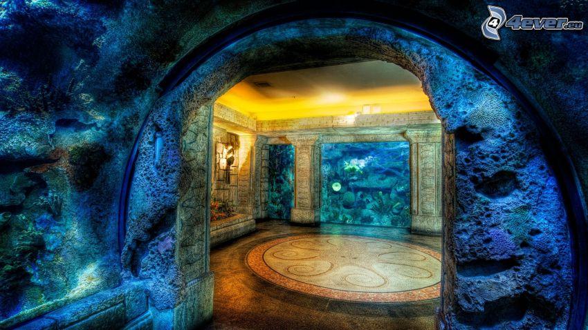 acuario, habitación, HDR