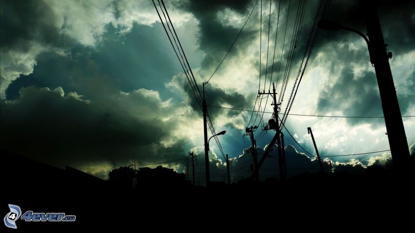 alambrado, nubes