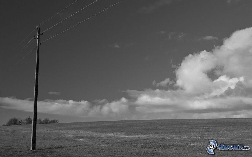 alambrado, prado, nubes