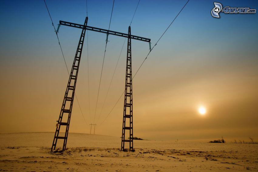 alambrado, puesta del sol, sol débil