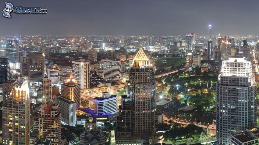 Bangkok, rascacielos, ciudad de noche