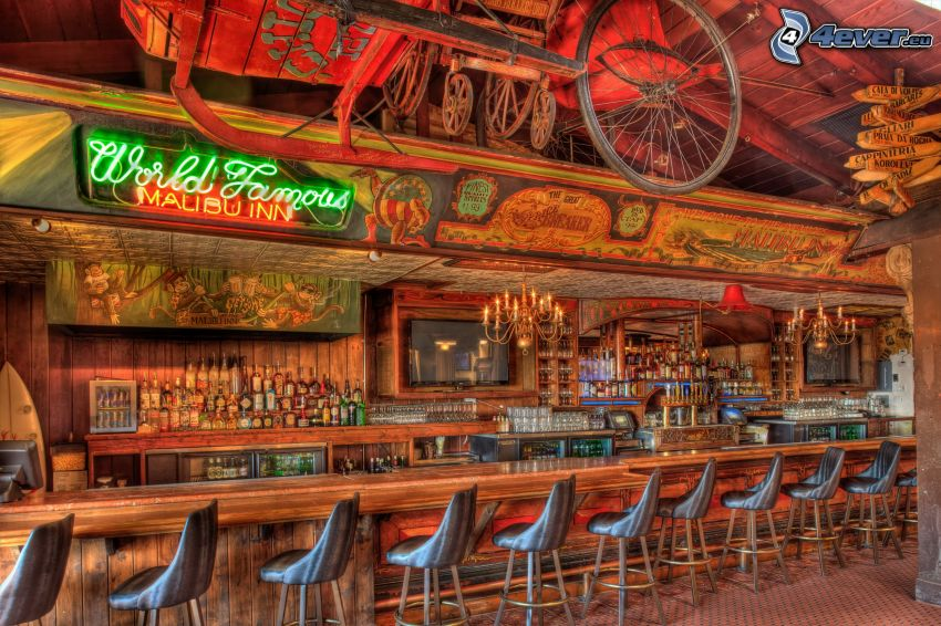 bar, sillas, HDR