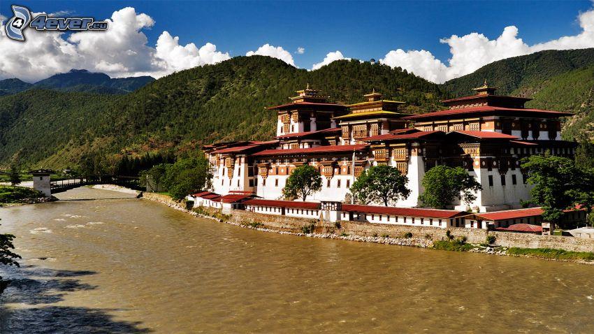 Bután, castillo, montañas